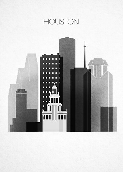 Houston Black and White Skyline, Texas Cityscape         by DimDom