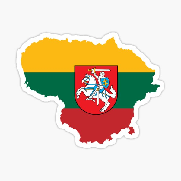 Lithuania Flag Map with Coat of Arms Sticker