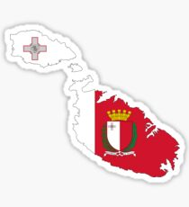 Malta Flag Map with Coat of Arms Sticker
