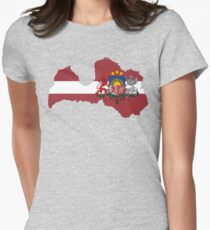 Latvia Flag Map with Coat of Arms T-Shirt