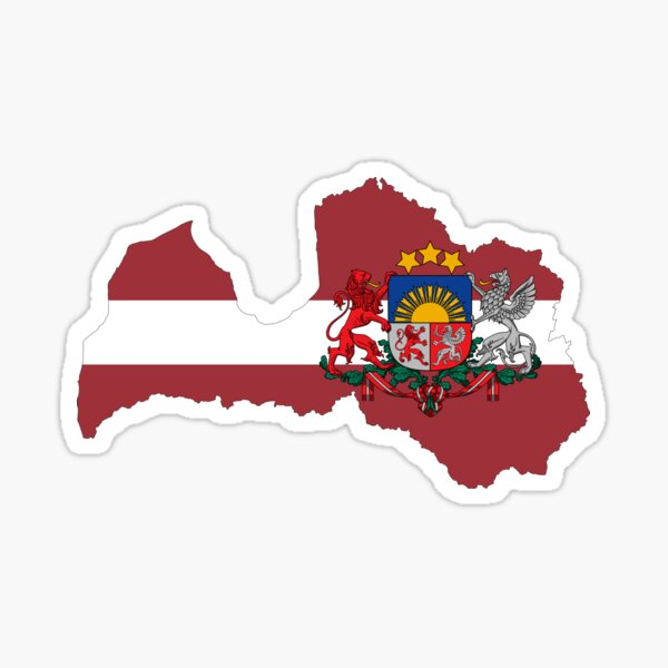 Latvia Flag Map with Coat of Arms Sticker