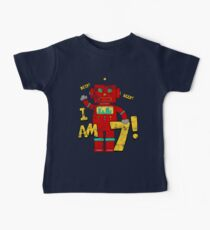 Retro Robot 7th Birthday Party Baby T-Shirt