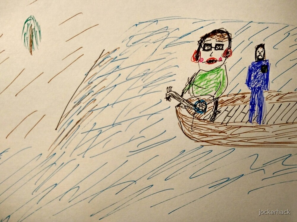 A musician, with flashy glasses, listening music with a police officer on a boat by jockerhack