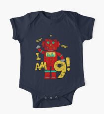 Retro Robot 9th Birthday Party Kids Clothes