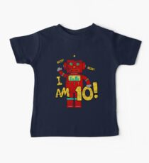Retro Robot 10th Birthday Party Baby Tee