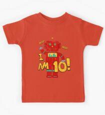Retro Robot 10th Birthday Party Kids Tee