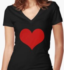 Abstract Cute Red Heart Shape Pattern Black  Women's Fitted V-Neck T-Shirt