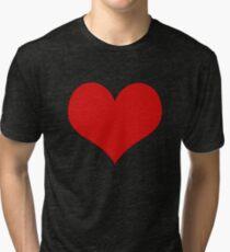 Abstract Cute Red Heart Shape Pattern Black  Tri-blend T-Shirt