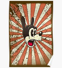 Retro vintage cartoon comic toon surprised dog Poster