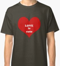 Red White Heart Shape Love Quote Abstract Pattern Classic T-Shirt