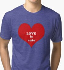 Red White Heart Shape Love Quote Abstract Pattern Tri-blend T-Shirt