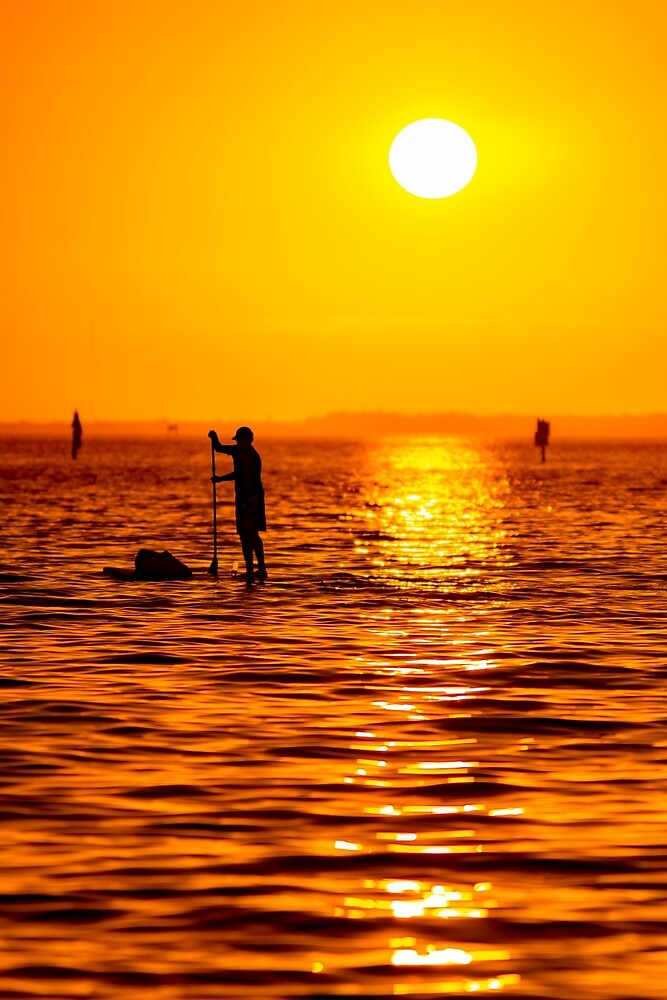 Sunset Paddle Boarder by peaceriverphoto