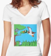 Duck Hunt Brown (Paint 'N' Beads) Women's Fitted V-Neck T-Shirt