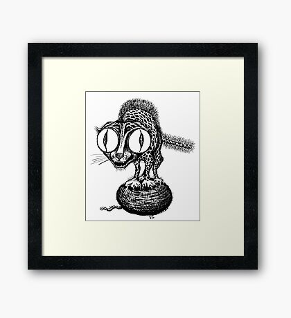 Crazy Cat surreal black and white pen ink drawing Framed Print