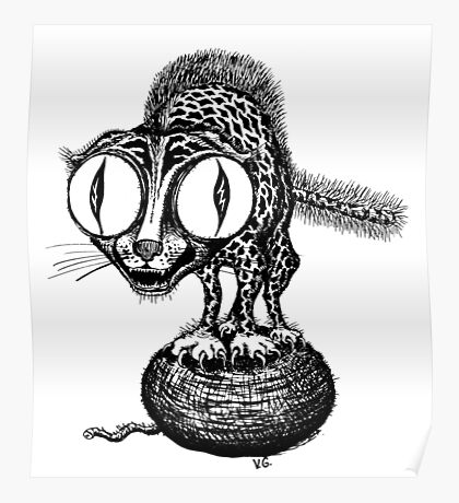 Crazy Cat surreal black and white pen ink drawing Poster