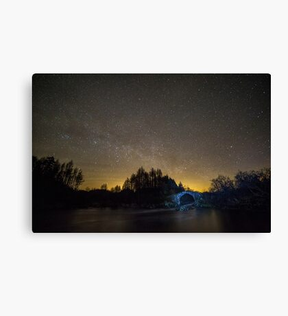 Old Packhorse Bridge at Night Canvas Print