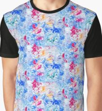 Abstract Doodle Shape Pattern Blue Pink White  Graphic T-Shirt
