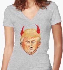 Devil Donald Women's Fitted V-Neck T-Shirt