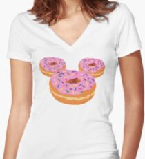 Mouse Donut Women's Fitted V-Neck T-Shirt