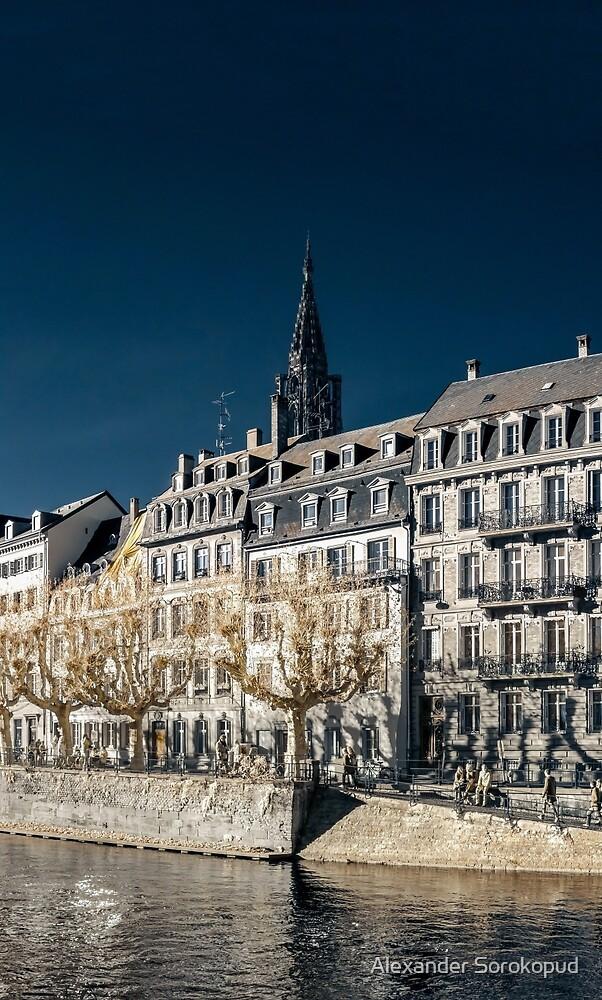 Strasbourg street infrared view, cityscape, France by Alexander Sorokopud
