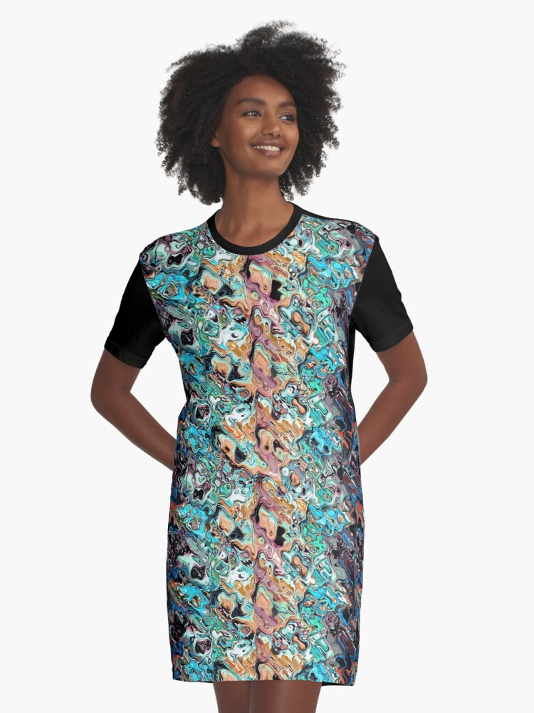 Colorful Distortions Abstract Graphic T-Shirt Dress Front
