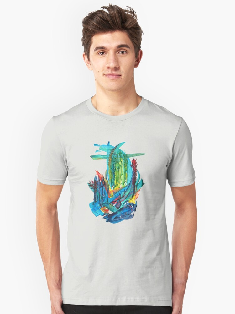 Abstract design Watercolor Hand Painted Shape Doodle Unisex T-Shirt Front