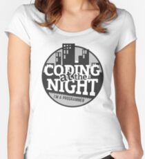 Coding At The Night Women's Fitted Scoop T-Shirt