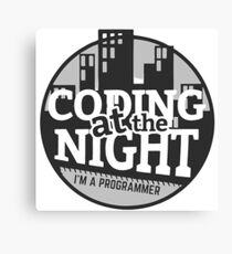Coding At The Night Canvas Print