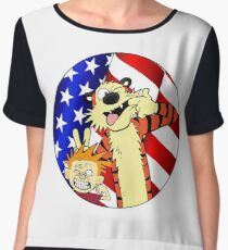 Calvin and hobbes america Chiffon Top
