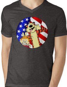 Calvin and hobbes america Mens V-Neck T-Shirt