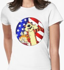 Calvin and hobbes america Womens Fitted T-Shirt