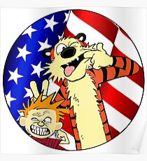 Calvin and hobbes america Poster