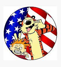 Calvin and hobbes america Photographic Print
