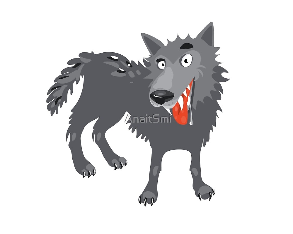 Gray wolf. Cartoon, toothy wolf grey  by AnaitSmi