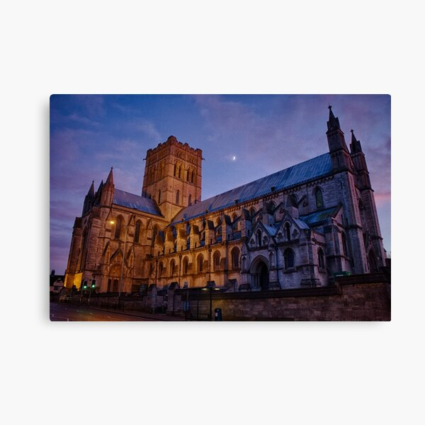 Cathedral Under a Twilight Moon Canvas Print