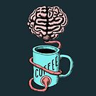 Coffee for the brain. Funny coffee illustration by cesarpadilla