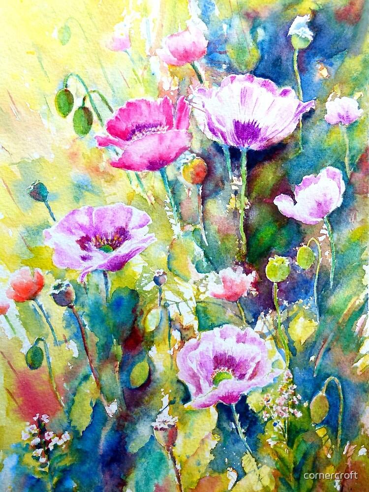Watercolor purple poppies by cornercroft