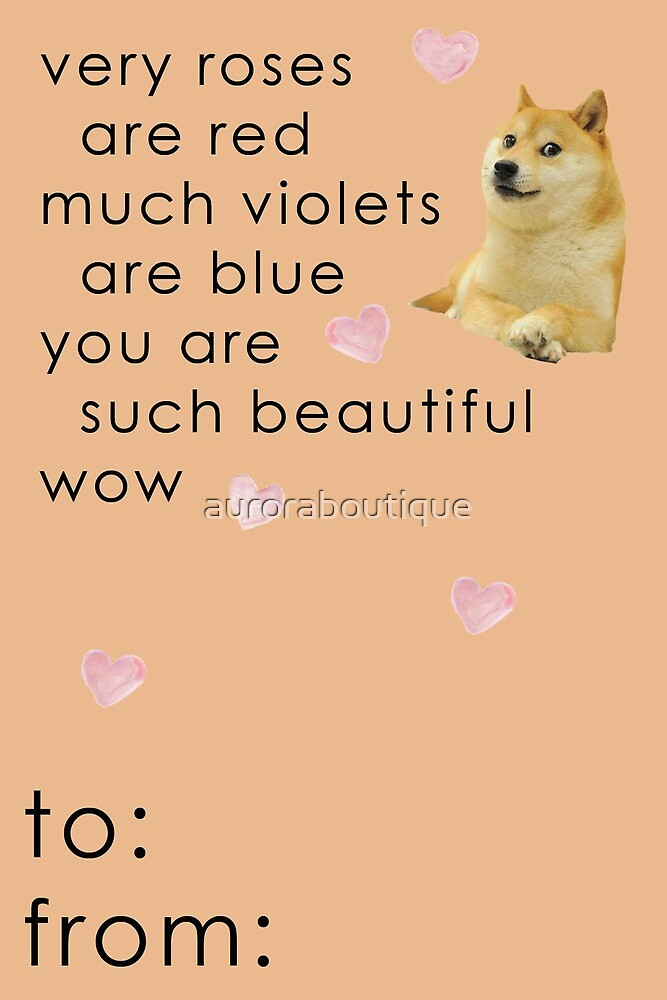 Doge Meme - Wow Such Beautiful - Valentine Card Funny by auroraboutique