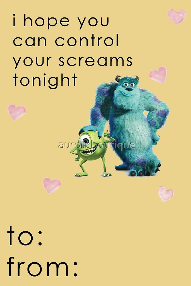 Monsters Inc Valentine Card Funny by auroraboutique