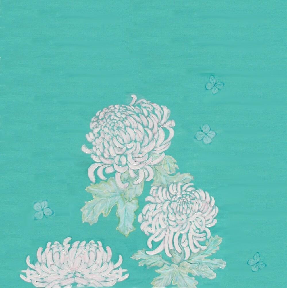 Chrysanthemums and Butterflies by spotz