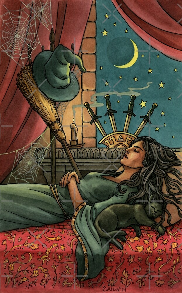 Everyday Witch Tarot - Four of Swords by Elisabeth Alba