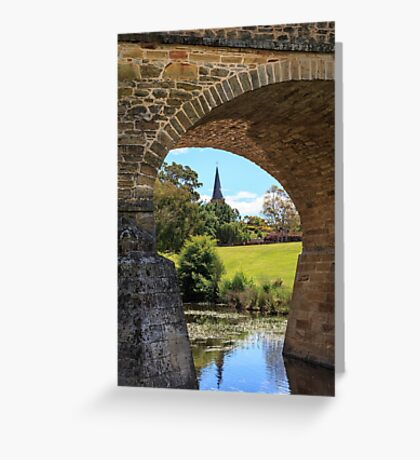 Richmond bridge and St Johns Church, Richmond, Tasmania Greeting Card