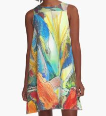 Iris Floral Abstract Design A-Line Dress