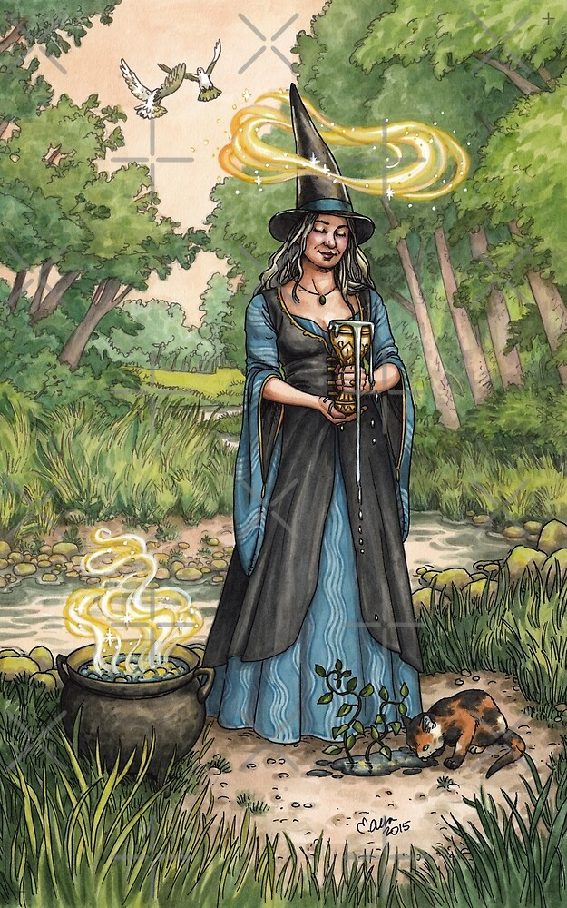 Everyday Witch Tarot - Ace of Cups by Elisabeth Alba