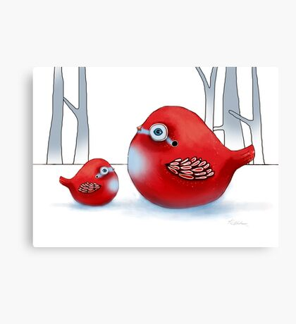Little Red Robins Canvas Print