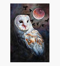 Owl of the Blood Moon Heart Photographic Print