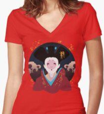 Robotic Geisha Women's Fitted V-Neck T-Shirt