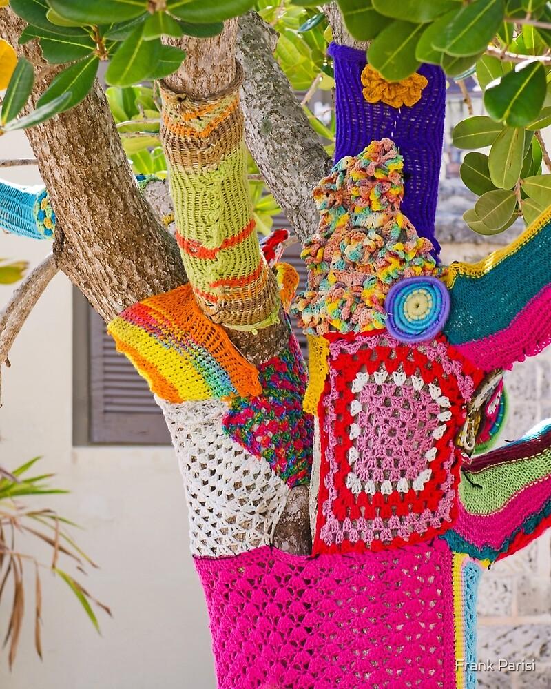 Yarn-bombed tree by Frank Parisi