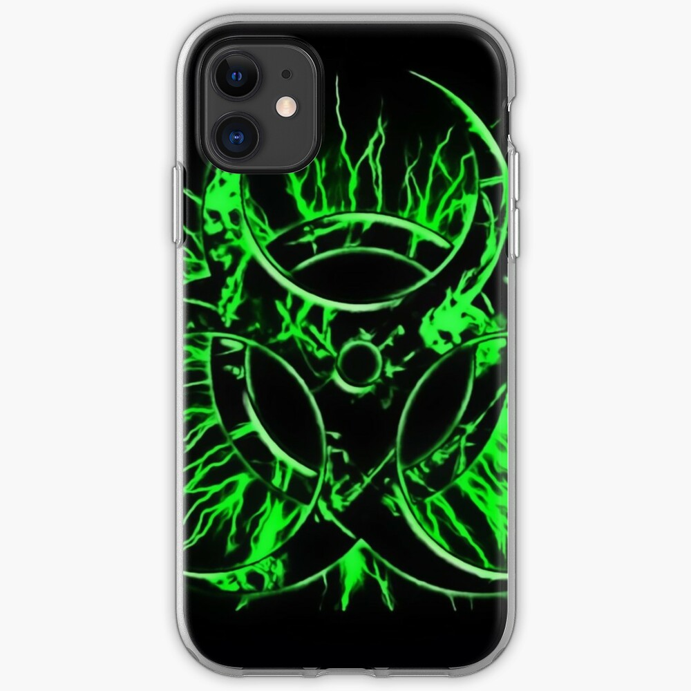 Biohazard warning, bio waste sign, symbol, green on black iPhone Case & Cover