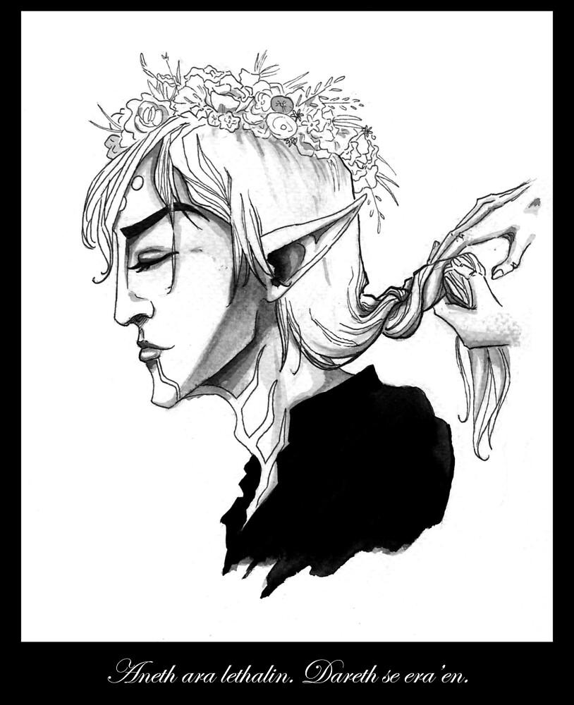 Fenris in a flower crown by ithinktsdashing